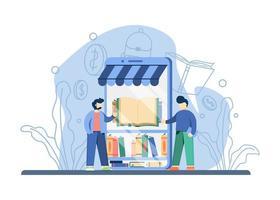 online bokhandel koncept vektor