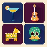mexikansk ikonuppsättning vektor design