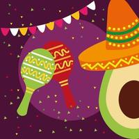 mexikanische Avocado mit Hutvektorentwurf vektor