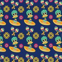 mexikanska skalle mönster bakgrund vektor