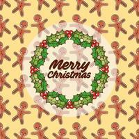 god jul vintage kort med krans vektor
