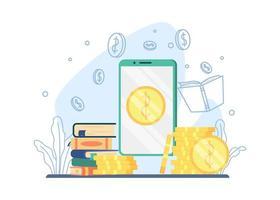 Online-Zahlung für Buchhandlungskonzept vektor