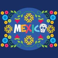 mexikanische Blumen und Blätter Vektor-Design vektor