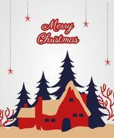 god julkort med hus och träd vektor