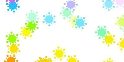 leichtes mehrfarbiges Vektormuster mit Coronavirus-Elementen.
