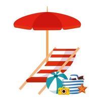 Strandtasche mit Regenschirm und Sommerikonen vektor
