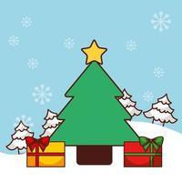 Frohe Weihnachtskarte mit Kiefer vektor