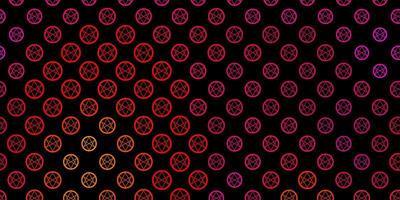 mörkrosa, gul vektorbakgrund med mysteriesymboler.