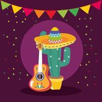 mexikanischer Kaktus und Gitarrenvektorentwurf vektor