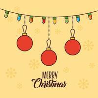 god julkort med hängande ornament vektor