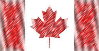 Kanada skiss flagga vektor