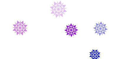 hellrosa, blauer Vektorhintergrund mit Weihnachtsschneeflocken. vektor