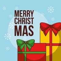 god julkort med gåvor vektor
