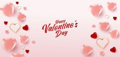 Alla hjärtans dag försäljning affisch eller banner med många söta hjärtan och på rosa färg bakgrund. reklam och shopping mall eller för kärlek och alla hjärtans dag.