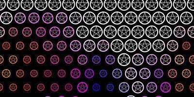 dunkelrosa, gelber Vektorhintergrund mit Mysteriumsymbolen. vektor