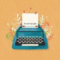 skrivmaskin och kärleksnot med handbokstäver. färgrik handritad illustration för glad alla hjärtans dag. gratulationskort med blommor och dekorativa element. vektor