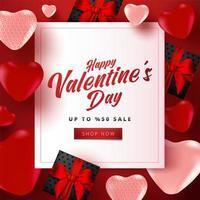 Valentinstag-Verkaufsplakat oder -fahne mit vielen süßen Herzen und schwarzen Geschenkboxen auf rotem Hintergrund. Werbe- und Einkaufsvorlage oder für Liebe und Valentinstag. vektor