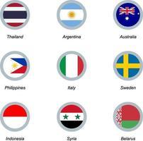 uppsättning runda ikoner med flaggor vektor