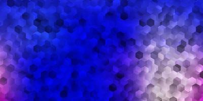ljusrosa, blå vektorlayout med former av hexagoner. vektor
