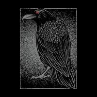 dunkler böser Rabe für Halloween-Thema Tattoo und T-Shirt Design. vektor