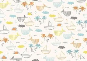 nahtloses Muster mit Schiffen, Fischen, Sonne, Wolken, Meer und Wellen. vektor