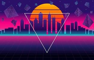 Raum Retro Futurismus Stadthintergrund mit modernen Elementen vektor