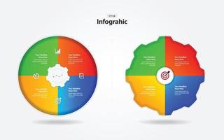 business infographic process mall cirkel och kugge vektor