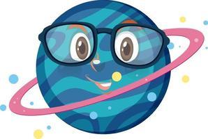 Saturn-Zeichentrickfigur, die Brille auf weißem Hintergrund trägt vektor