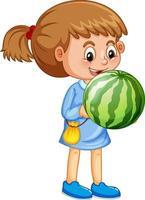 en flicka som håller vattenmelonfrukttecknad karaktär isolerad på vit bakgrund