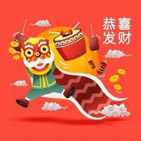 chinesisches Neujahr mit Löwentanz vektor
