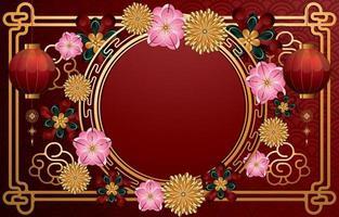 lyckligt kinesiskt nyår bakgrundskoncept vektor