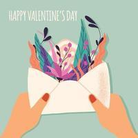 kuvert med kärleksbrev. färgrik handritad illustration med handbokstäver för glad alla hjärtans dag. gratulationskort med blommor och dekorativa element. vektor
