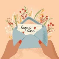 kuvert med kärleksbrev och händer. färgrik handritad illustration med handbokstäver för glad alla hjärtans dag. gratulationskort med blommor och dekorativa element. vektor