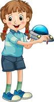 ein Mädchen, das Raketenspielzeugkarikaturfigur lokalisiert auf weißem Hintergrund hält vektor