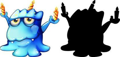 blaues Monster mit seiner Silhouette auf weißem Hintergrund