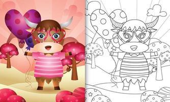 Malbuch für Kinder mit einem niedlichen Büffel, der Ballon für Valentinstag hält vektor