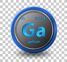Gallium chemisches Element. chemisches Symbol mit Ordnungszahl und Atommasse. vektor