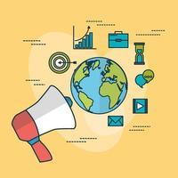 digital marknadsföringsteknik med planeten jorden vektor