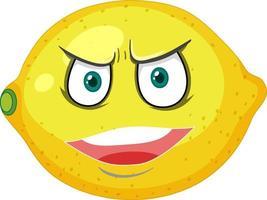 Zitronen-Cartoon-Figur mit wütendem Gesichtsausdruck auf weißem Hintergrund