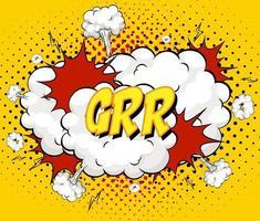 grr Text auf Comic-Wolkenexplosion auf gelbem Hintergrund vektor