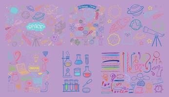 Satz von gezeichneten Gekritzel der bunten Objekt- und Symbolhand auf lila Hintergrund vektor