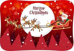 Frohe Weihnachten Schrift mit Weihnachtsmann auf einem Schlitten in Schneeszene vektor
