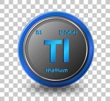 chemisches Element von Thallium. chemisches Symbol mit Ordnungszahl und Atommasse. vektor