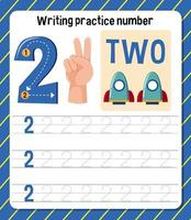 skriva övning nummer 2 kalkylblad vektor