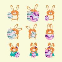 söt tecknad karaktär uppsättning påsk kanin vektor