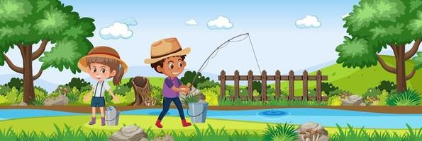 Kinder in der horizontalen Landschaftsszene des Naturgartens zur Tageszeit