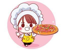 niedlicher Koch, der eine Pizza-Karikaturillustration hält vektor
