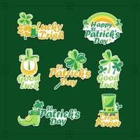Klee Aufkleber zu feiern st. Patricks Tag vektor