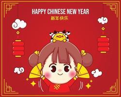 glad tjej och söt ko, lyckligt kinesiskt nyårsfirande tecknad karaktärsillustration vektor