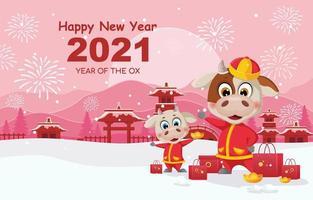 Frohes neues Jahr des Ochsen 2021 vektor